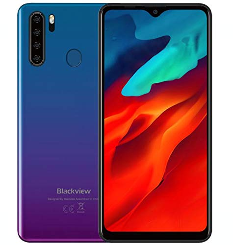 Blackview A80 Pro Budget-Handy ohne Vertrag Ggünstig, 6,49 Zoll HD + Bildschirm, Helio P25 4GB+64GB, Quad-Rückfahrkamera, 4680 mAh Akku, 8,8 mm Dicke, Android 9.0 Dual-SIM-Smartphone 4G, GPS, Blau
