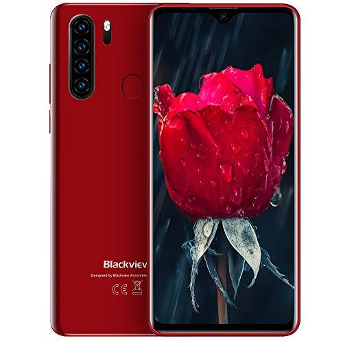 Blackview A80 Pro (2020) 4G Smartphone ohne Vertrag Günstig 6,49 Zoll Android 9.0 4GB RAM + 64GB ROM, 128GB erweiterbar 4680mAh Akku 13MP+8MP Dual Kamera Dual SIM Handy - Fingerabdrucksensor Rot