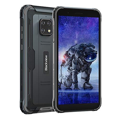 Blackview BV4900 (2020) Outdoor Smartphone (Android 10, 5580mAh Akku, 32 GB interner Speicher, 3GB RAM, 5.7 Zoll HD+ Display, Dual SIM, NFC) - Exklusive Blackview IP68 Wasserdicht Handy Schwarz