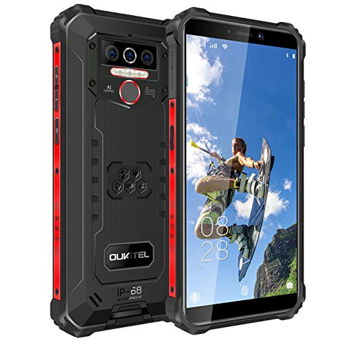 OUKITEL WP5 Pro Outdoor Smartphone Ohne Vertrag IP68 wasserdicht 4GB+64GB Outdoor Handy 8000mAh Android 10.0 Dual-SIM Robustes Smartphone 5,5 Zoll Triple AI Kamera Face/Fingerprint ID 1Jahr Garantie