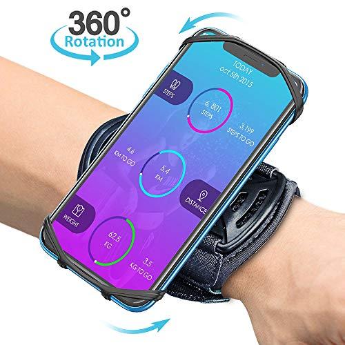 Bovon Handytasche Laufen, 360° Rotation Handgelenk Handyhalterung Joggen für alle Telefone mit der Bildschirm von 4.0-6.5 Zoll, Handy Armband mit Schlüsselhalter für Joggen Radfahren (Schwarz)