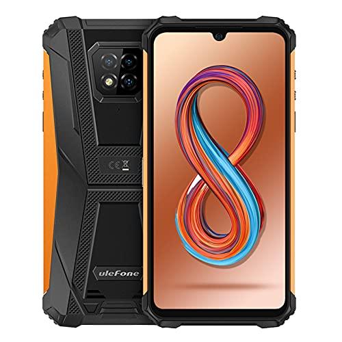 Outdoor Smartphone ohne Vertrag, Ulefone Android 11 Armor 8 Pro 4G Outdoor Handys, Helio P60 Octa-Core 6GB+128GB, 6,1-Zoll-HD+, IP68/IP69K Wasserdicht, NFC/Face ID/OTG/GPS, 5580 mAh (Orange)