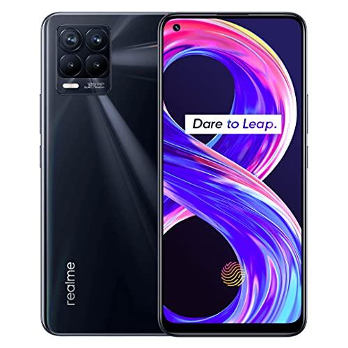 realme 8 Pro Smartphone ohne Vertrag, 108 MP Infinity-Kamera Android Handy, 6,4Zoll Super AMOLED-Vollbildschirm, 50 W SuperDart Charge, Starker 4500-mAh-Akku, Dual Sim, NFC, 6+128GB, Punk Black