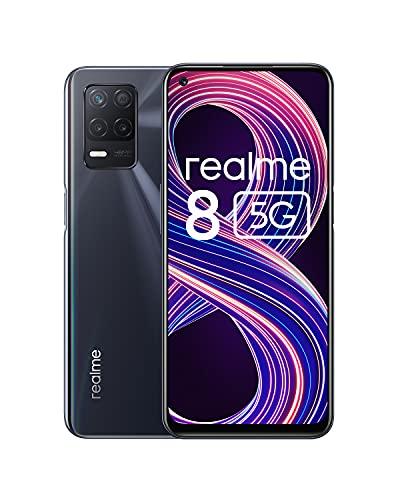 realme 8 5G Smartphone ohne Vertrag, Dimensity 700 5G-Prozessor Android Handy, Ultraflüssiges 90 Hz-Display, Starker 5000 mAh-Akku, 48 MP Nachtlandschaft-Kamera, Dual Sim, NFC, 6+128GB, schwarz