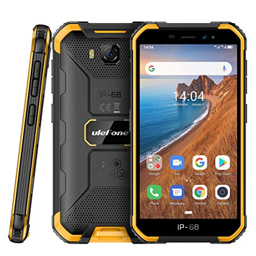 Outdoor Handys ohne Vertrag Günstig, Ulefone Armor X6 Smartphones Wasserdicht Android 9.0, 5.0 Zoll, 16GB ROM, 4000mAh, Quad-core IP68/IP69K, Stoßfest Staubdicht Face ID GPS - Orange