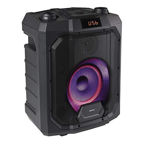 MEDION P61988 Party-Soundsystem (Mobile PA, Partylautsprecher ,Karaoke, Bluetooth, Kompaktanlage, 500 Watt, 4000mAh Akku, Farbige LED, USB, AUX, Mikrofonanschluss, Gitarrenanschluss)