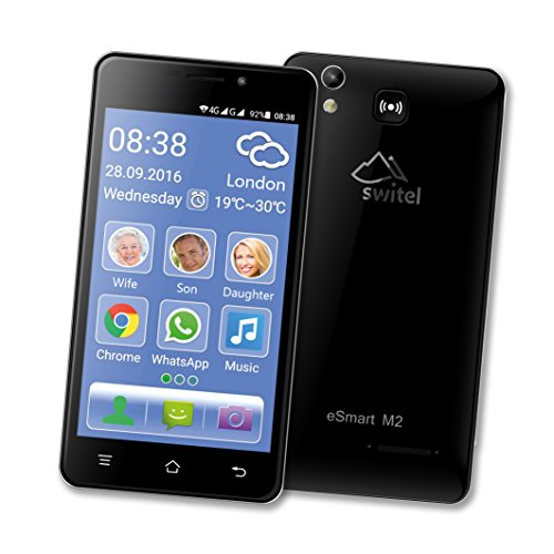 Switel eSmart M2 Smartphone (Dual-SIM, LTE, 3200mAh Akku mit SOS Notruftaste, lauter Klingelton und Hörerlautstärke, Hörgerätekompatibel, 12,7 cm (5 Zoll)) schwarz