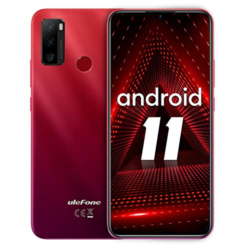 Smartphone ohne vertrag, Ulefone Note 10 Android 11 Handy 6,52', 2GB+32GB, 5500mAh, 8MP+2MP+2MP Kamera, 3-Karten-Steckplatz, OTG, Fingerabdruck, 4G Dual SIM (Rot)