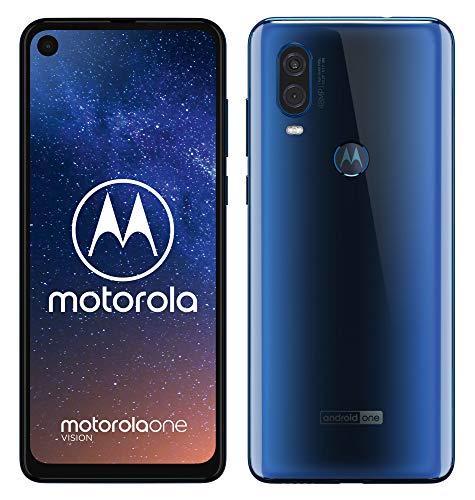 motorola one vision Dual-SIM Smartphone (6,3-Zoll-FHD+-Display, 48-MP-Sensor, 12-MP- + 5-MP-Dual-Kamera, 128 GB/4 GB, Android 9) Blau + Schutzcover