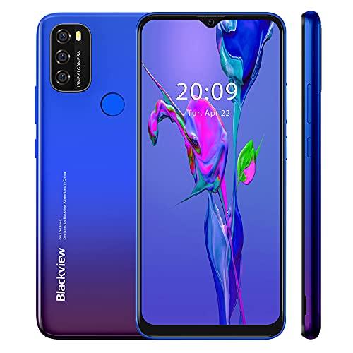 Blackview A70 2021 Handy ohne Vertrag Ggünstig, Android 11 Smartphone, 6,517 Zoll HD + Display, 3GB+32GB, 5380 mAh Akku,13MP+5MP Kamera, Dual SIM 4G, Face ID, GPS, Blau