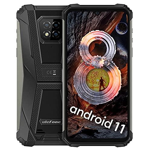 Ulefone Armor 8 Pro Smartphones Wasserdicht Android 11 Outdoor Handy ohne Vertrag, Helio P60 Staubdicht Fallfester AI Octa-Core 8GB+128GB, 6,1-Zoll-HD+,16MP+5MP+2MP+8MP Kameras(Schwarz)