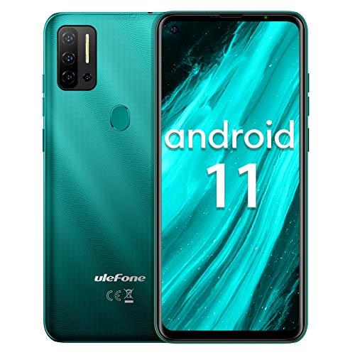 Smartphone ohne vertrag Helio P60 Octa-Core, Ulefone Note 11P Android 11 Handy 6,55', 8GB+128GB, 4400mAh, 48MP+8MP Kamera+2MP Kamera, 3-Karten-Steckplatz, Fingerabdruck, 4G Dual SIM (Grün)
