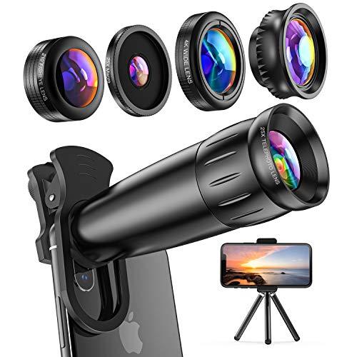 LIERONT Handy Objektiv Kamera Linse Kit,5 in 1 Universal Zoom Teleobjektiv,Makro Objektiv,Fischaugenobjektiv,Objektiv Weitwinkel und Kaleidoskop Linse für iphone Samsung Huawei Android Smartphone