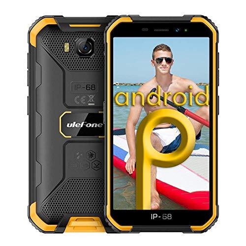 Smartphones ohne Vertrag, Ulefone Armor X6 2021 Günstig Outdoor Handy, Wasserdicht IP68/IP69K, Quad-Core, 2G+16GB ROM, 8MP Hauptkamera 5MP Vordere Kamera, Android 9.0, 5.0 Zoll, 4000mAh - Orange