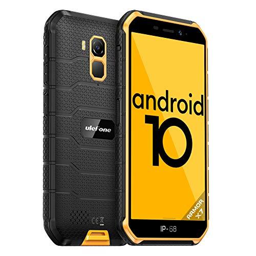 Ulefone Armor X7 Günstige Outdoor Handys - Android 10 IP68/IP69K Wasserdichtes Smartphone ohne Vertrag Quad-Core 4+32GB 5,0-Zoll-Bildschirm 13MP Hauptkamera 4000mAh Batterie Fingerabdruck-ID (Gelb)