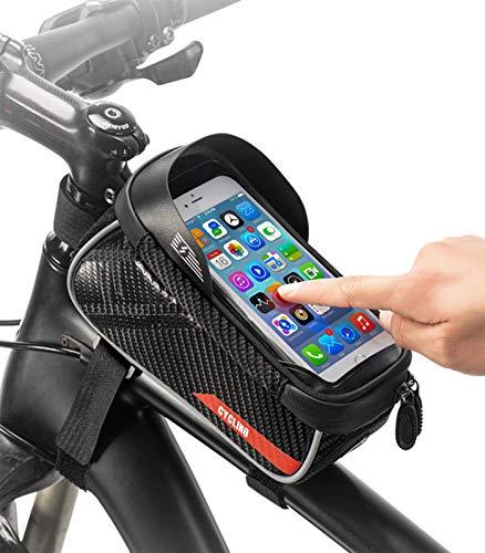 MUJUZE Fahrrad Rahmentasche Handy, wasserdichte Touchscreen-Reittasche,Fahrradtasche Rahmen handyhalterung für Smartphone unter 6 Zoll und Kopfhörerloch