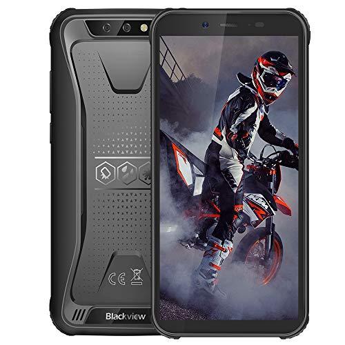 Blackview BV5500 Plus Android 10,0 Outdoor Smartphone ohne Vertrag Günstige 4G- 5.5 Zoll (13.9cm) HD Display, 4400mAh Akku, 3GB/32GB 128GB erweiterbar, Dual SIM Handy - NFC/Face ID/OTG/GPS - Schwarz