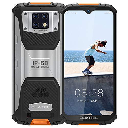 OUKITEL WP6 (2020) Outdoor Handy, 4G IP68 wasserdichter Smartphone Ohne Vertrag,10000mAh Robustes Handy, 48MP Android 9.0 Global Version 6,3 Zoll 6GB 128GB Triple Kamera Face/Fingerprint ID (Orange)
