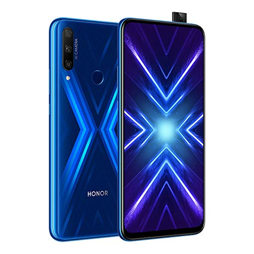 HONOR 9 x Smartphone-Handy, 4 GB RAM, 128 GB ROM, 4000 mAh Dual-SIM, Komplett-Bildschirm von 6,59 Zoll (16,59 cm), 48 MP, AI Dreifachkamera + 16 MP, Pop-Up-Kamera, Blau