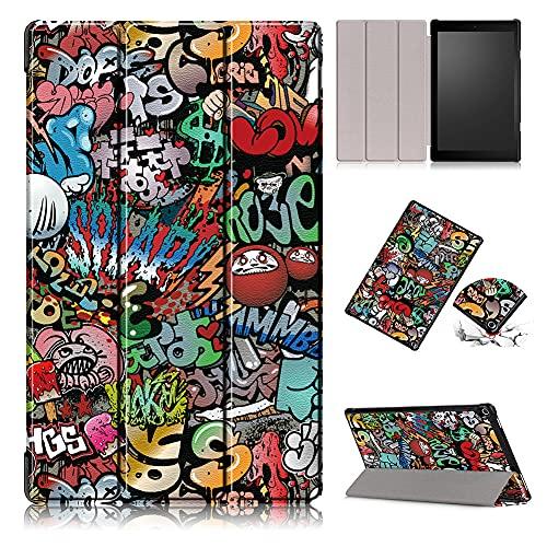 Shinyzone Hülle Kompatibel mit Amazon Fire HD 10 Tablet (9. Gen 2019 & 7. Gen 2017 Model),Slim PU Leder Magnetisch Flip Ständer Schutzhülle mit Auto Aufwachen/Schlaf,Graffiti